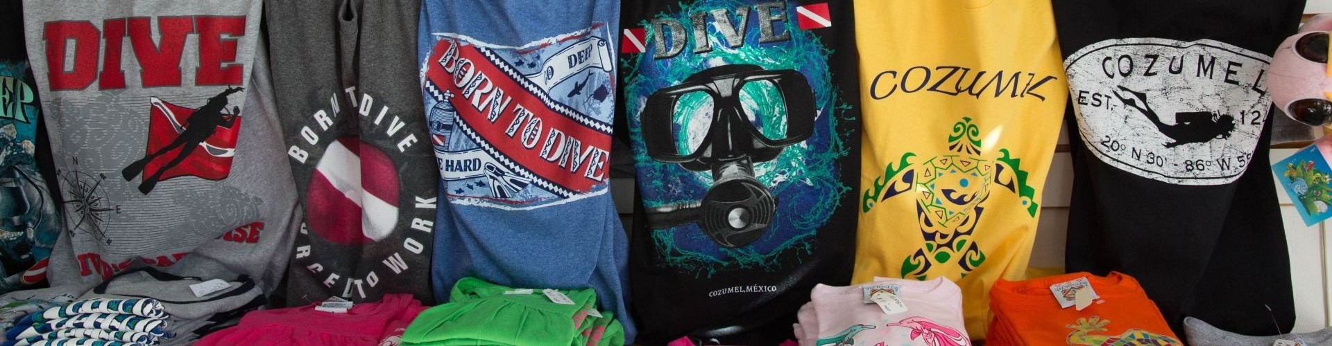T-Shirt Display at Dive Boutique Cozumel